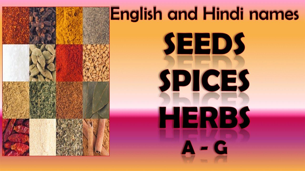 Indian Spices Herbs Hindi English names Part 1 - बीज मसालों और जड़ी बूटियों
