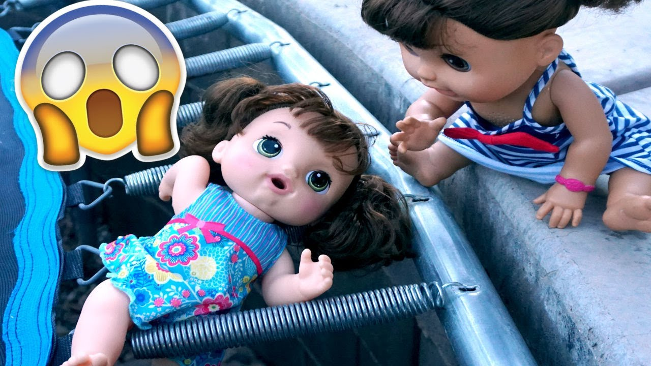 BABY ALIVE Oakley Falls Through Trampoline And Can\'t Get Out! - YouTube
