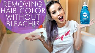 Removing Hair Color WITHOUT Bleach!? | Hair Experiment(HAIR EXPERIMENT TIME! In my quest to remove my semi permanent hair color without bleach, I tested two common tips you find online- dish soap and dandruff ..., 2016-03-11T01:59:36.000Z)