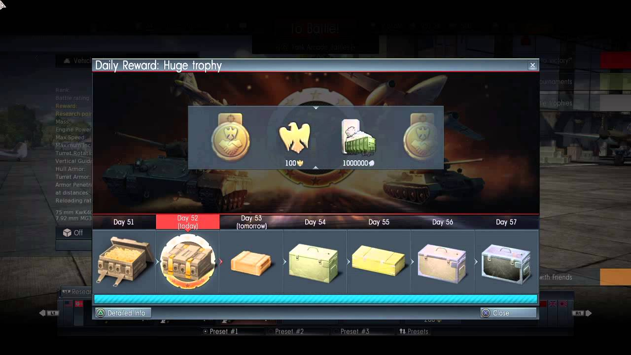 War Thunder day 52 daily reward HUGE trophy!!! - YouTube