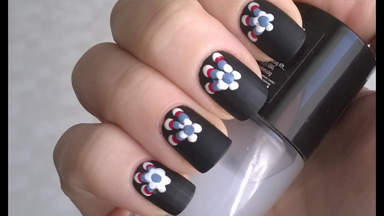 Diy Matte Nail Polish Designs 1 Black Nails Toothpick Flowers