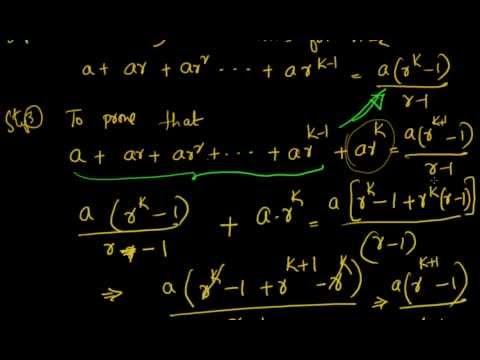 Mathematical Induction: Prove that  a + a.r + a.r^2 + a.r^3 + ... + a.r^(n-1) = a (r^n-1)/(r-1)