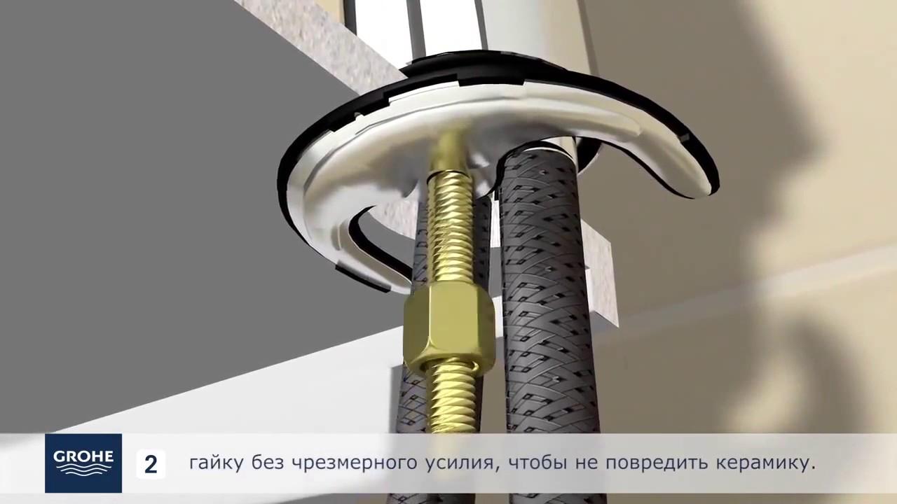 Монтаж смесителя с донным клапаном