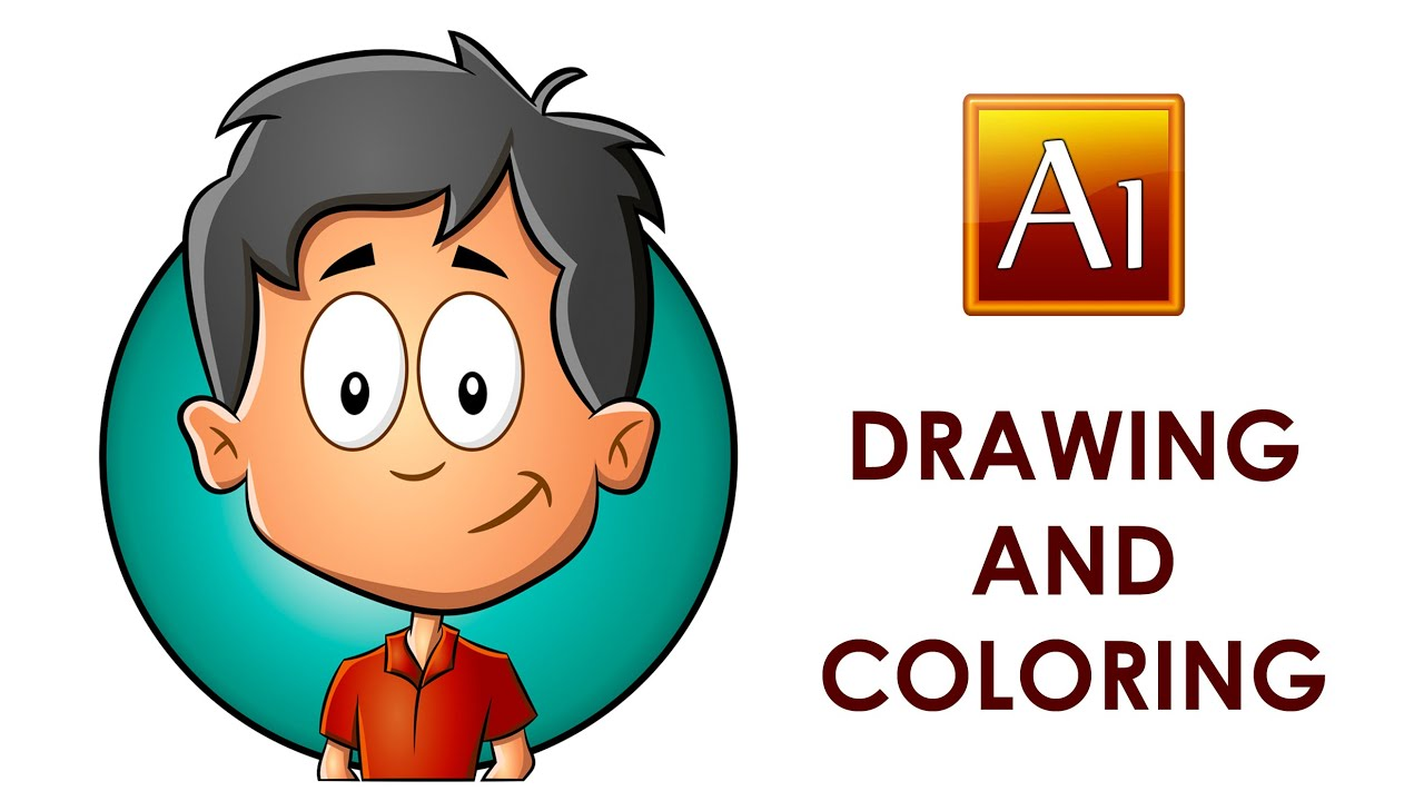 Drawing and Coloring a Cartoon Child in Adobe Illustrator - YouTube