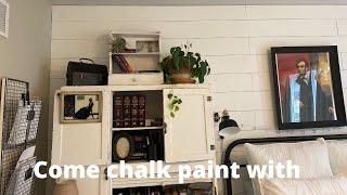 Chalk painting a little cabinet