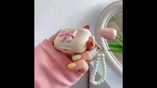 핑크 진주 리본 스트랩 에어팟 케이스
