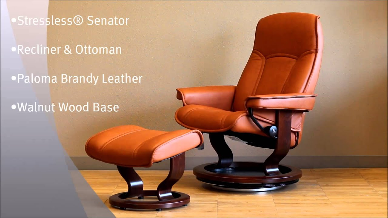 Recliner Chair Leather Gym Exercise System Stressless Senator And Ottoman Paloma Brandy Brown Wood Base - Youtube