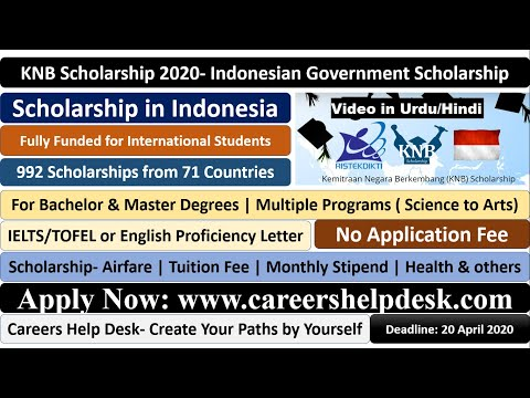 KNB Scholarship 2020 | Indonesian Government Scholarship |Fully Funded | Submission in Urdu/Hindi
