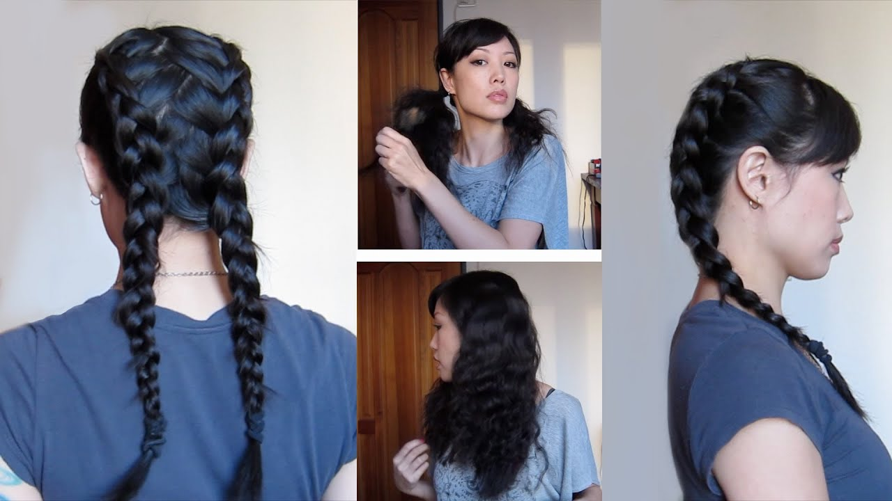 Dutch Braids With Zigzag Part Heatless Waves Youtube