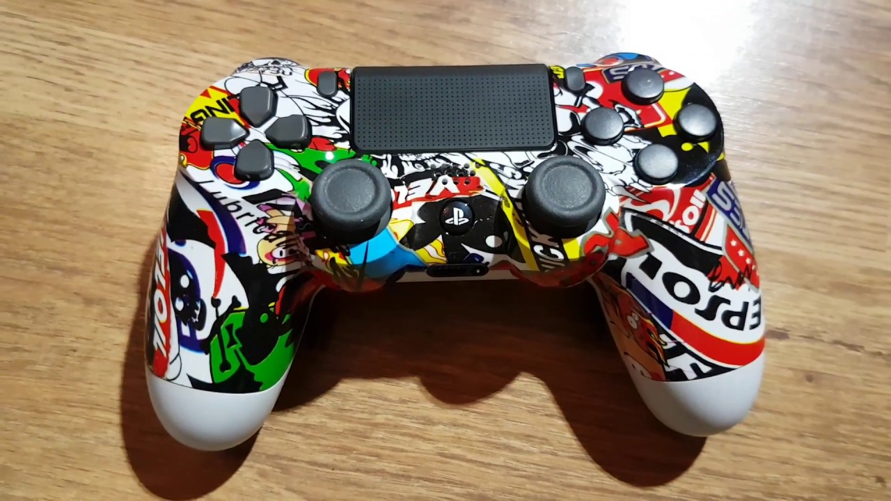 unboxing ps4 king controller custom stickerbomb shell scuf or burn or aim controller style. Black Bedroom Furniture Sets. Home Design Ideas