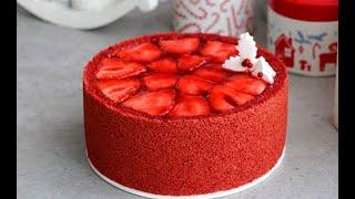 레드 벨벳 딸기 케이크 : 크리스마스 케이크 : Red velvet strawberry cake : レッドベ…