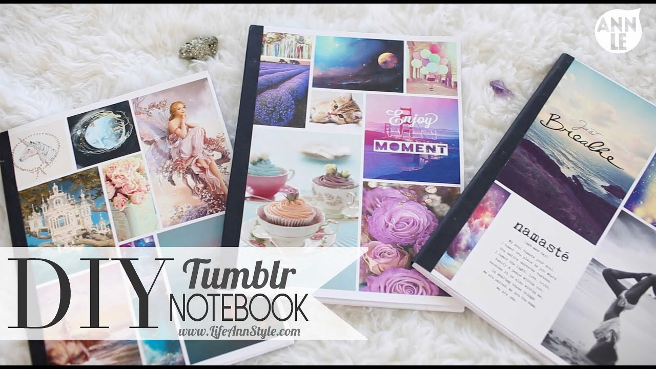 Collage Style Book Cover ~ Diy tumblr notebook back to school hack ann le youtube
