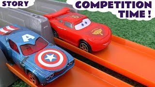 Disney Cars Toys Race day with Hot Wheels Spiderman Avengers Star Wars Batman Minions & Hulk