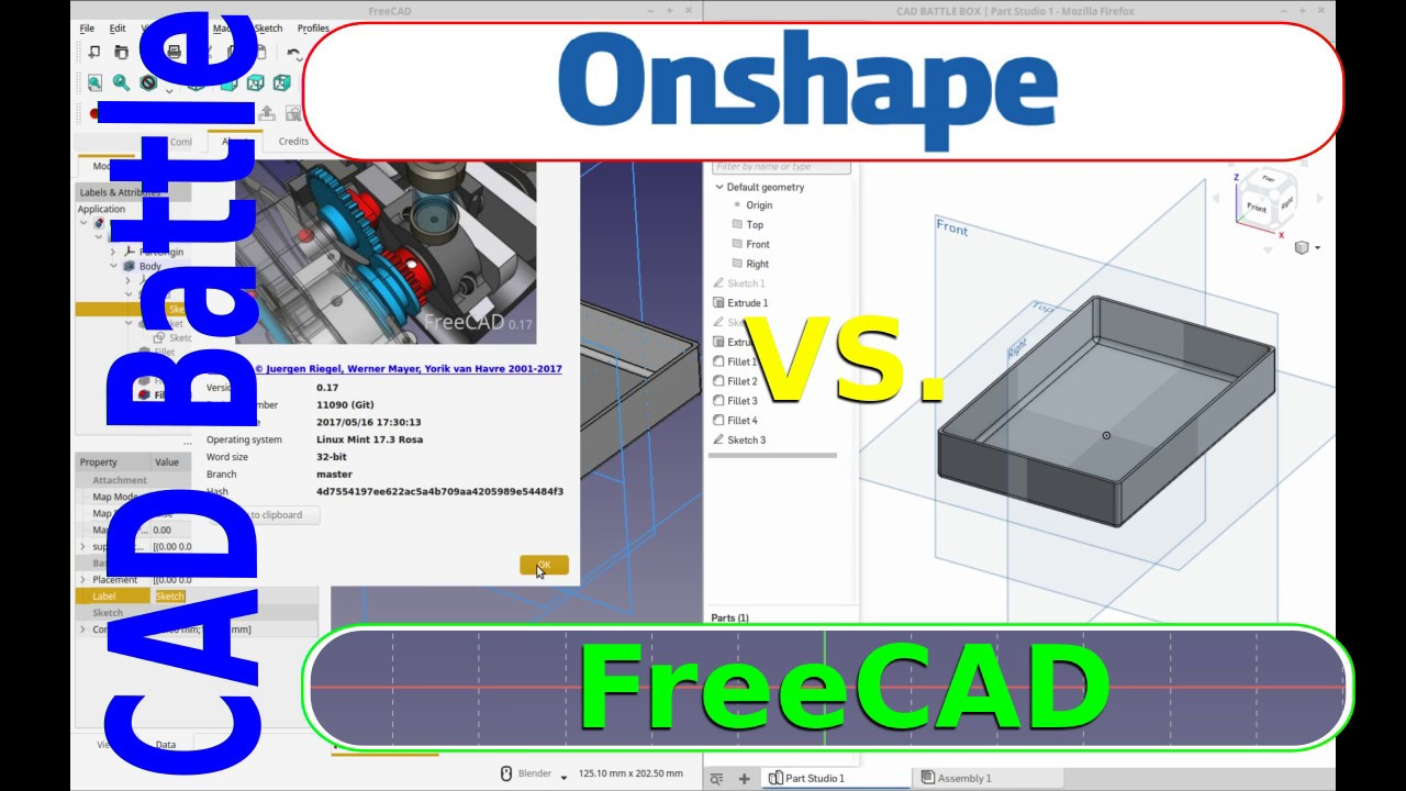 CAD Battle - FreeCAD vs  OnShape - Open Source vs  Free to use !