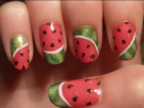 simple summer watermelon nail art