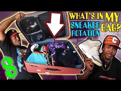 WHAT'S IN MY $2000 TRAVEL BAG? & SNEAKER ROTATION (BAPE, NIKE, YEEZY, KSUBI, PALACE & MORE!)