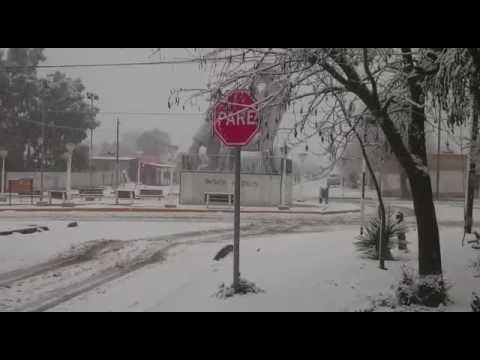 La nevada en la comarca petrolera.