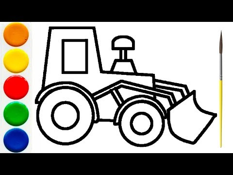ЭКСКАВАТОР Раскраска для детей | Мультик-Раскраска про машинки