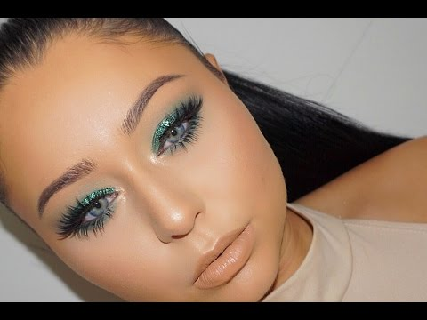 Emerald Green Jewel Tone Glitter Smokey Eye Makeup Tutorial