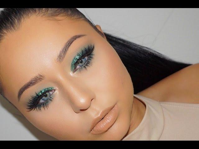 emerald-green-jewel-tone-glitter-smokey-eye-makeup-tutorial