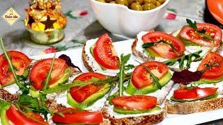 Брускетта с помидорами. Бутерброды с авокадо. Полезный завтрак. Вкусная закуска.  Моя Dolce vita