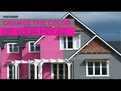Change the color of your house in adobe photoshop to paint - Paint for exterior walls set ...