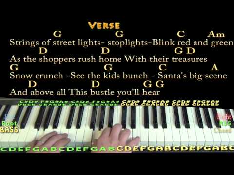 Silver Bells (Christmas) Piano Cover Lesson in G with Chords/Lyrics