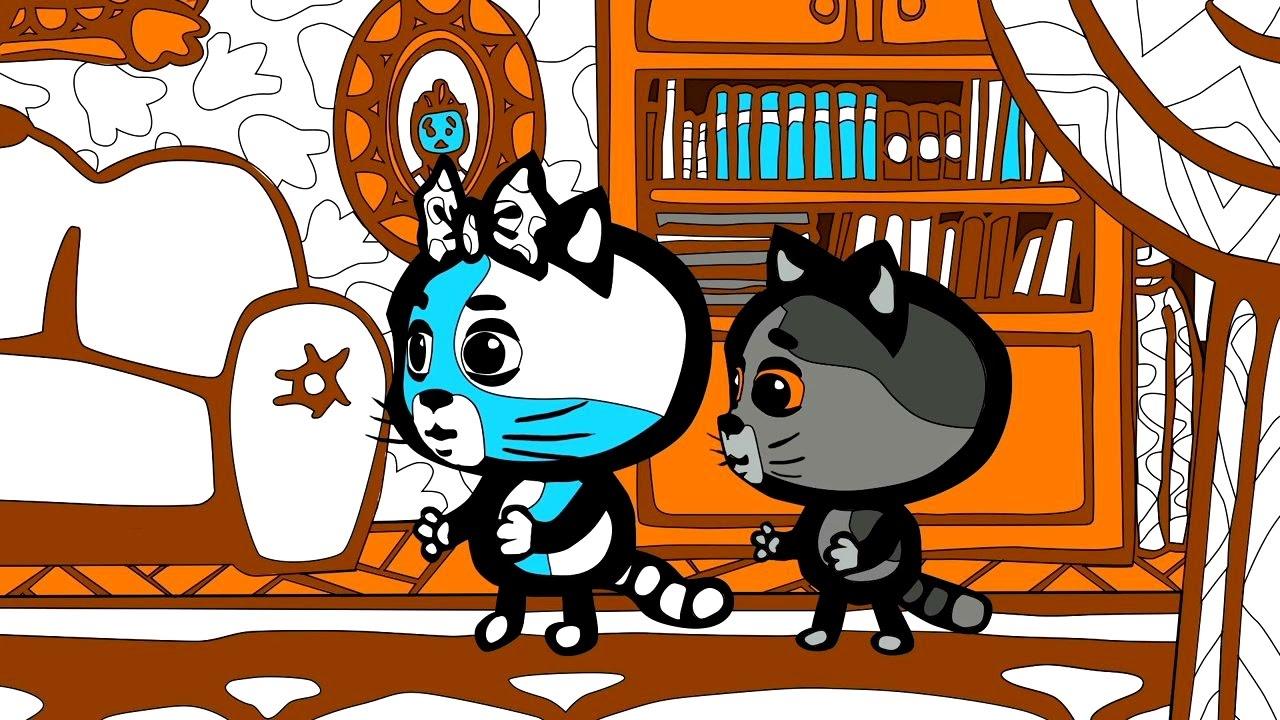 Три котенка - Есть у нас такая дверь | Раскраски ...