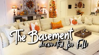 TUSCAN FARMHOUSE BASEMENT DECORATED FOR FALL!  AUTUMN 6FT TREE, HANGING FALL LADDER & MORE! 🍁