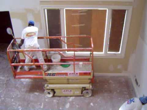 Drywall Skimcoat And Painting High Ceilings With Scissor Lift Youtube