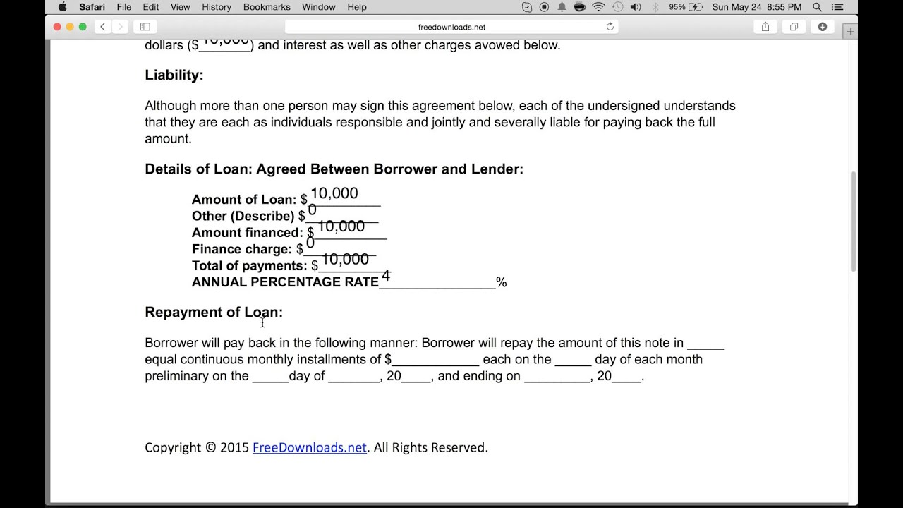 How to Write a Free Personal Loan Agreement | PDF | Word - YouTube