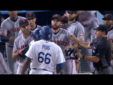 Thumbnail: SF@LAD: Benches clear after Puig, Bumgarner go at it