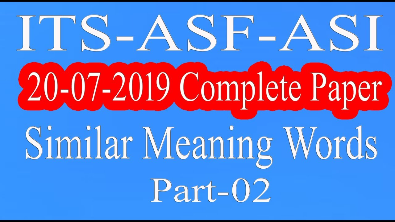 Repeat ASF : ASI Complete Paper | ITS ASF | 20 July 2019