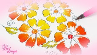 Nas Designs Tutorial 07: Floral Design with Pencil and colors