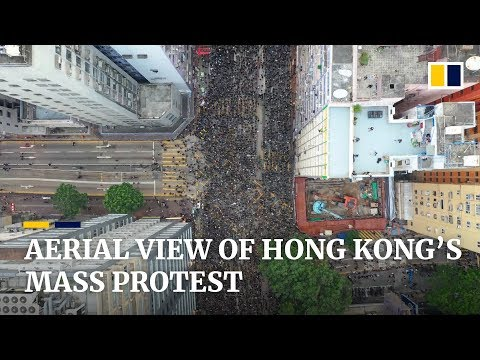 Stunning aerial footage of Hong Kong's historic protest