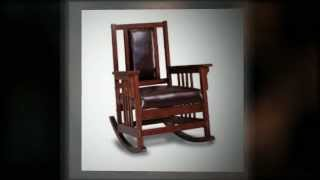 Mission Style Wood And Leather Rocking Chair