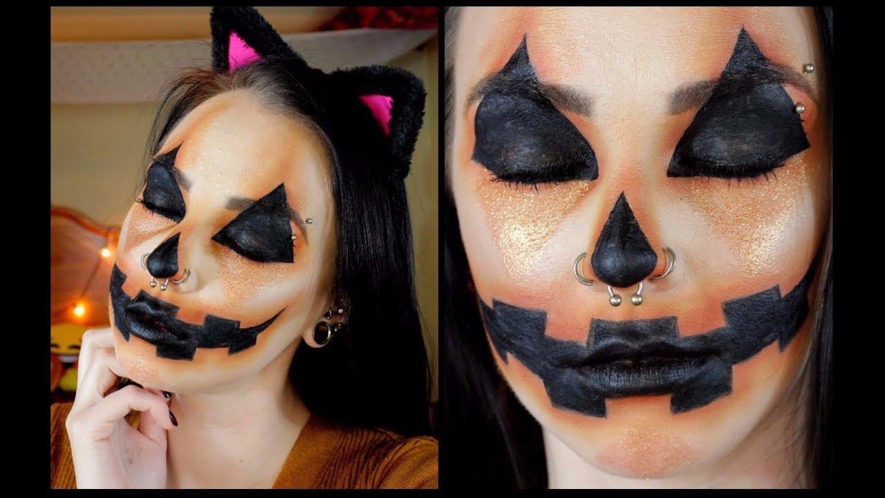 Cute Halloween Makeup Easy.Easy Pumpkin Halloween Makeup Tutorial Cute And Creepy