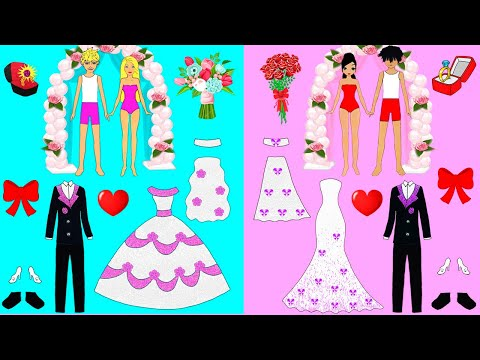 PAPER DOLLS DRESS UP FOR TWO WEDDINGS COSTUMES PAPERCRAFTS QUIET BOOK