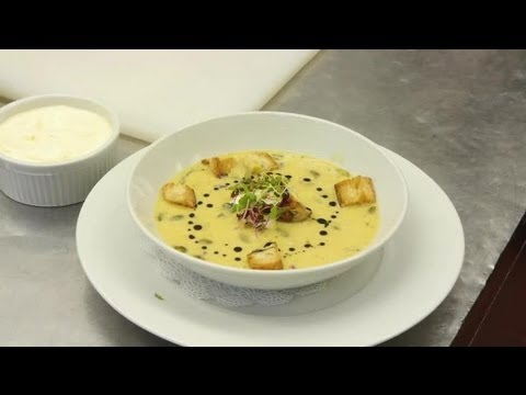 Butternut Squash Soup Served With Sour Cream & Croutons : Delectable Dishes