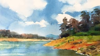 Watercolor Painting of Clouds and Water Landscape Step by Step