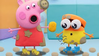 Peppa Pig Official Channel | Peppa Pig and Doh-doh's Puddle Jump | Play-Doh Show Stop Motion