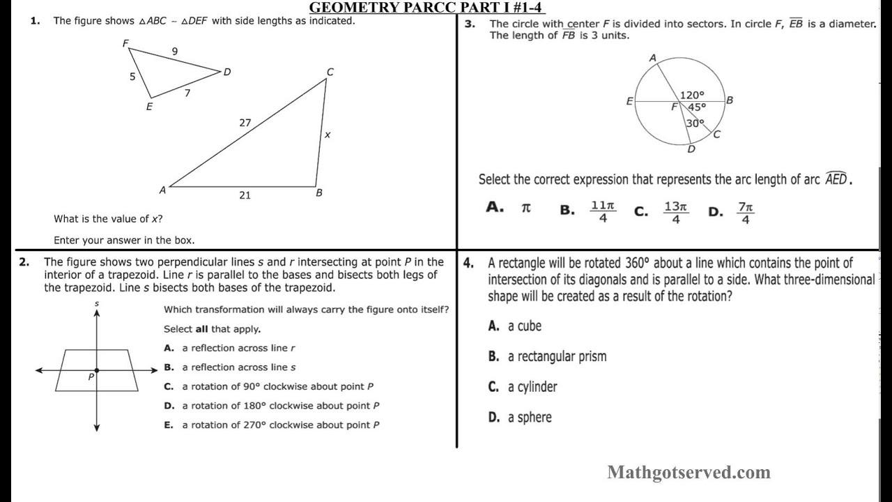 Geometry Parcc Interactive Worksheet