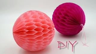basteln mit Papier: Wabenbälle aus Seidenpapier / Blumenseide selber basteln, DIY