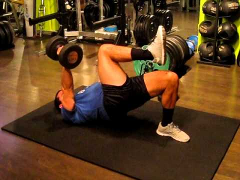 1 arm dumbbell floor press w single leg glute brdige iso for Opposite of floor