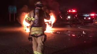 Raw video of car engulfed in flames after town of Clay crash