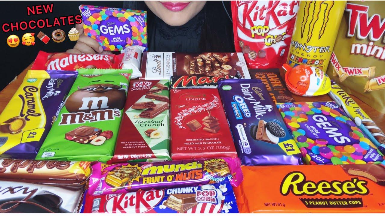 ASMR:LOTS OF CHOCOLATES,KITKAT,LINDT,MUNCH,DAIRYMILK,GEMS,KINDERJOY *CHOCOLATE CHOCOLATE *