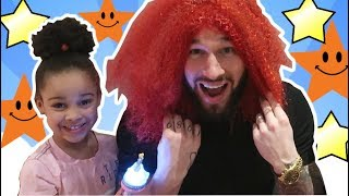 Cali's Pretend Magical Wand Turns Daddy's Hair Red