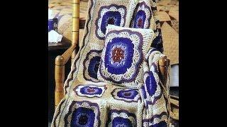 Квадратный мотив к покрывалу с подушкой