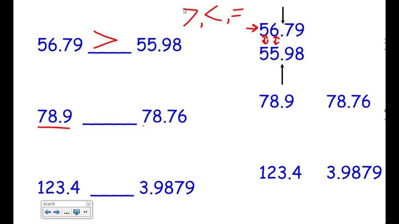 Comparing decimals worksheet grade 4