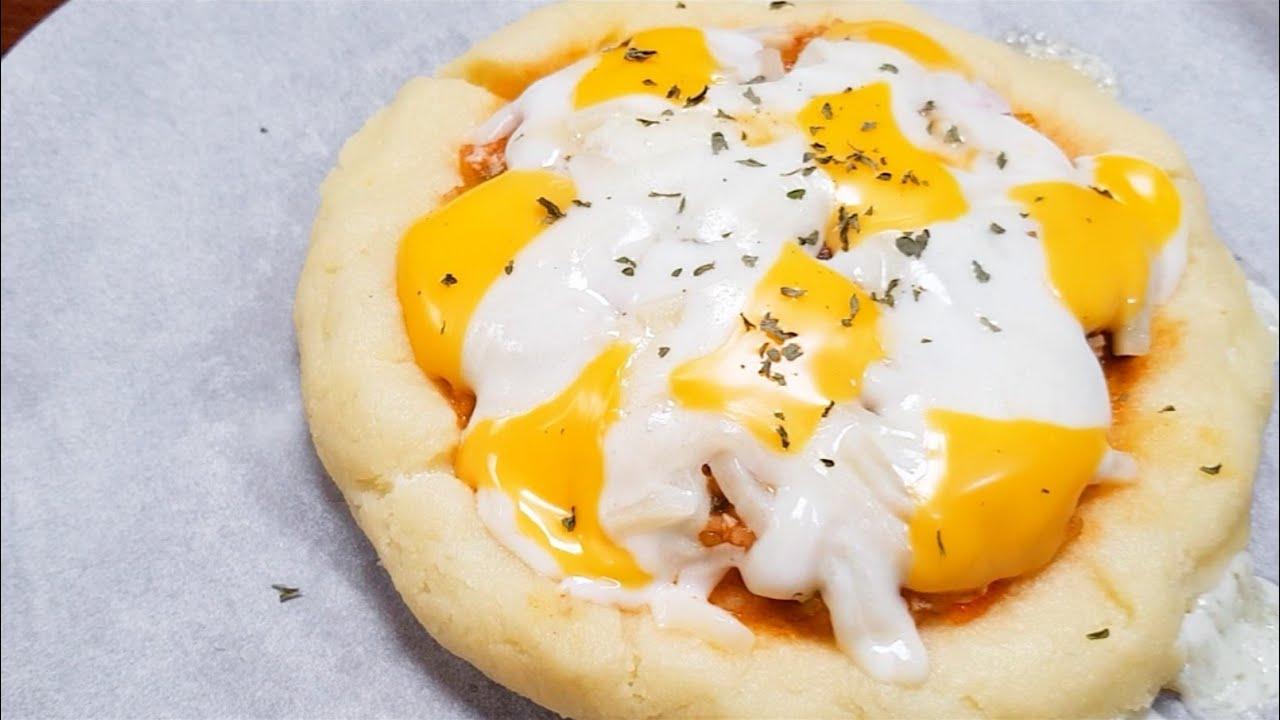 밀가루 전혀 없이 감자로 만들었어요 강추) 치즈 크러스트 피자~ 전자렌지 요리